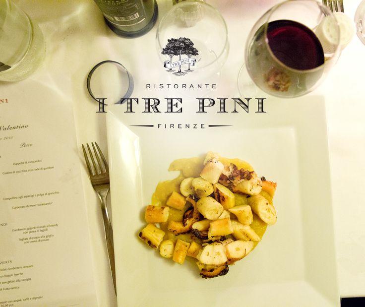 Tagliata di polpo alla griglia con crema di patate. #ITrePini #TuscanCuisine #FratelliSaraceni