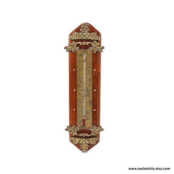 1890s Thermometer Ornate Metal Victorian Decor by Nachokitty, $245.00