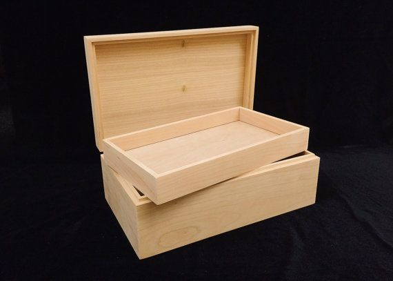 Unfinished Wood Box with Hinges & Tray-10 x 6 x 3 3/4-unfinished wood box-ready to finish-engravable wood box-personalized laser engraving
