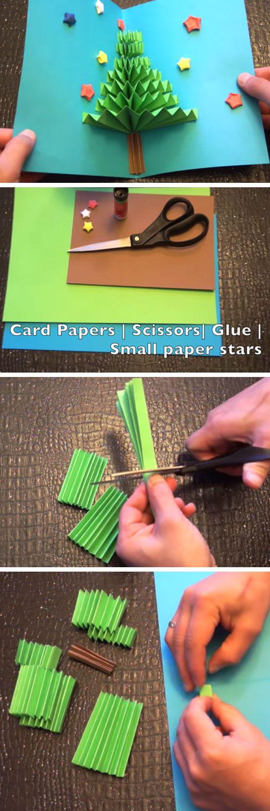 Weihnachtsbaum DIY 3D knallen oben Karte | Pop Up Weihnachtskarten für Kinder zu machen | DIY Weihnachtskarten für Freunde