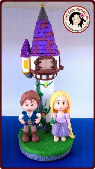 Topo de Bolo Torre Rapunzel biscuit