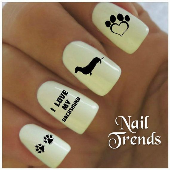 Dachshund Vinyl Nail Stickers, Nail Art Decals