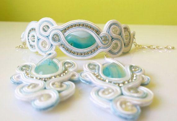Wedding soutache orrechini braccialli set with by EmilyArtHandmade