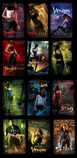 Elemental Assassin Series by Jennifer Estep: http://www.thereadingcafe.com/heart-of-venom-elemental-assassin-9-by-jennifer-estep-a-dual-review/