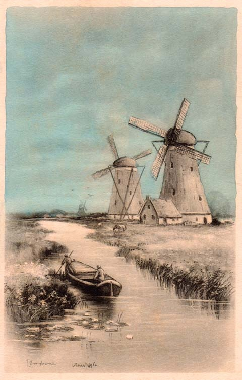 Blue+and+Sepia+Windmills+By+the+River+Scene.jpg 480×754 pixels