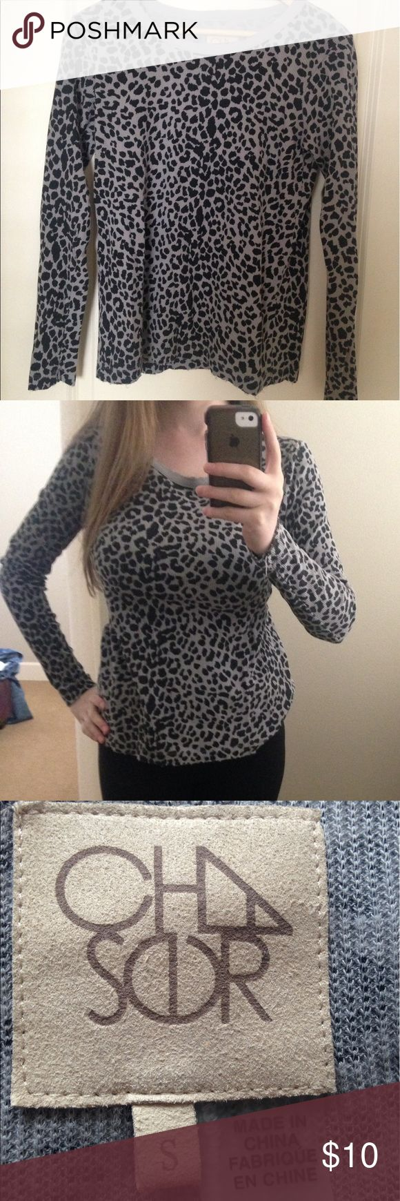 Cheetah Print Long Sleeve Shirt This adorable cheetah print shirt came from a boutique. It is size small, but easily could fit a medium (like me). Excellent condition. Fraying along the edges (as shown) is part of the style. Tops Tees - Long Sleeve