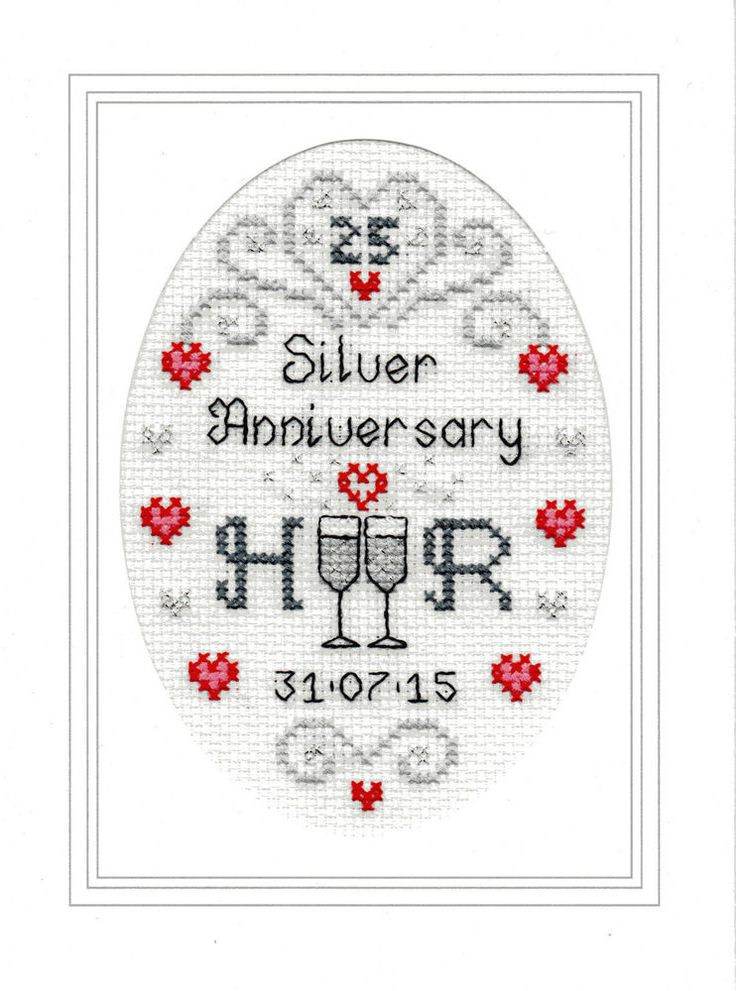 Silver Wedding Anniversary cross stitch card kit