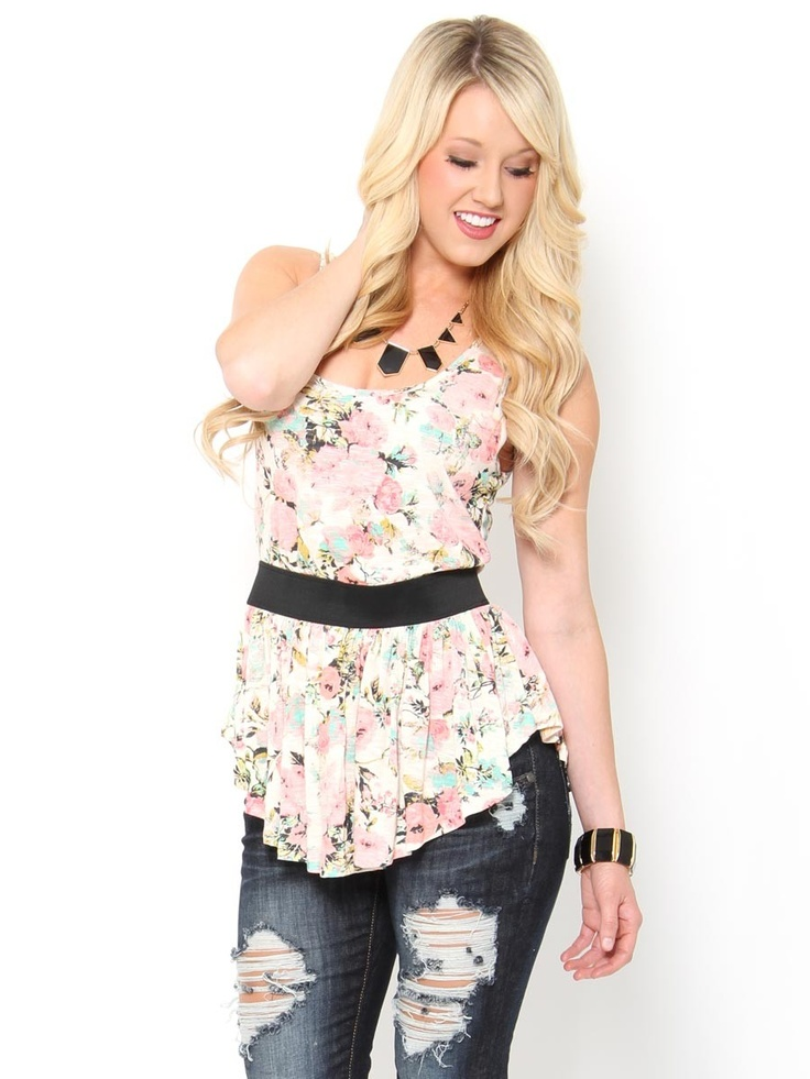 #Floral Ruffle Tank