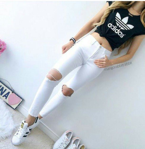 adidas, crop top, cute, jeans, outfit - image #3593994 by marine21 ...