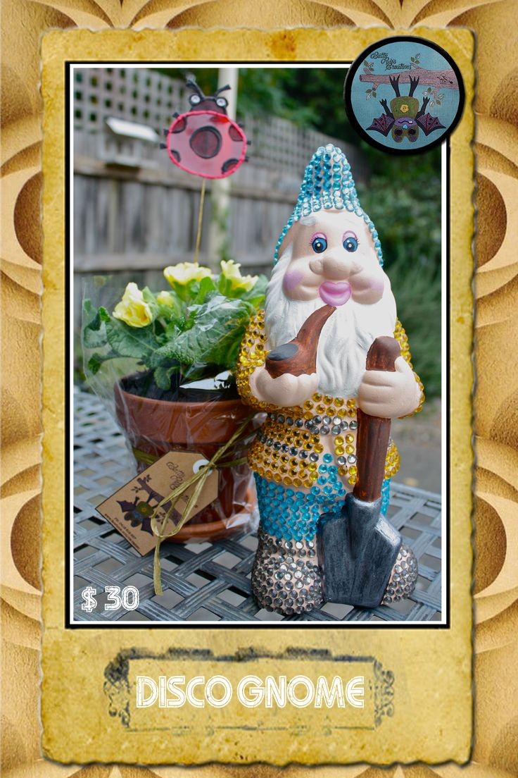 Disco Gnome: Hand painted garden gnome embellished with diamantes.