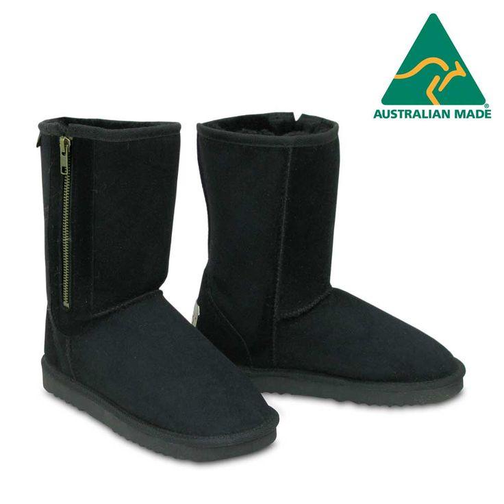 Classic Zip Sheepskin Boots in Black