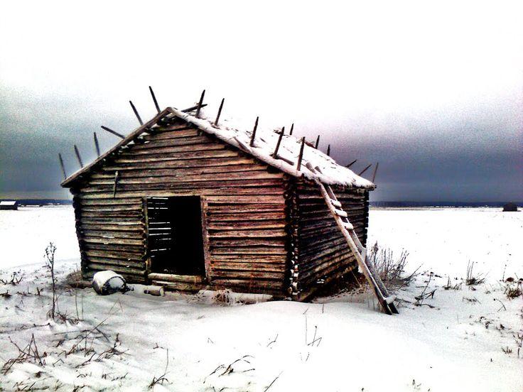 Log hay barn. - Ilmajoki, South Ostrobothnia province of Western Finland. - Etelä-Pohjanmaa,