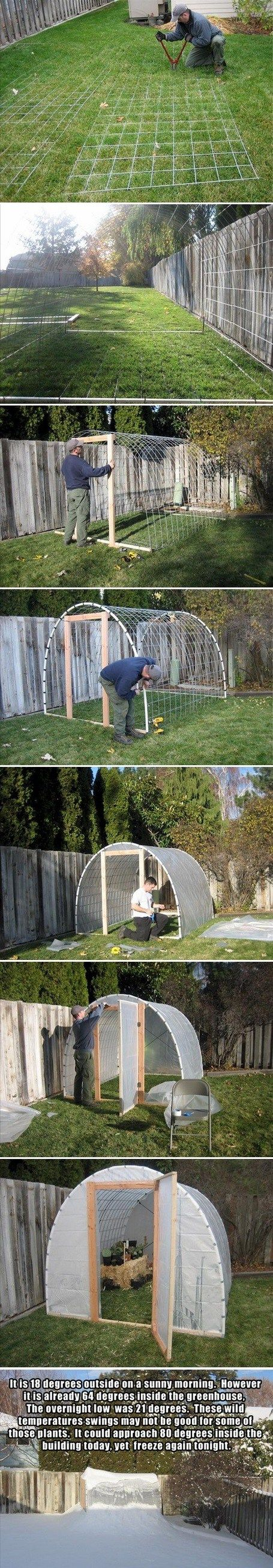 "The gentleman who built all of this is named Adam J. Fyall. Click on the link and go to his site. He has a lot of amazing tips and ideas, plus step by step instructions. Materials : 3 standard ""cattle panels"". 2 rolls of 10'x50′ clear plastic. User a heavier grade. I used 6 mil."