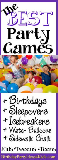 The best birthday party games for kids, tweens and teens ages 1, 2, 3,4 ,5 , 6, 7, 8, 910, 11, 12, 13, 14, 15, 16, 17, 18 years old!   Fun birthday party games, sleepover and slumber party games, icebreakers, sidewalk chalk games, water balloon games, pool party games and much more!   Save for your upcoming party or when you need games for a group of boys and girls!   http://www.birthdaypartyideas4kids.com/party-games.htm #party #games #kids #tweens #teens #icebreaker #sleepover #water…