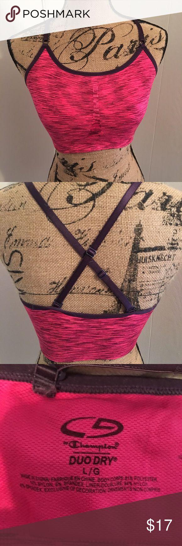 Champion sports bra w/ cross-cross back Adorable pink & purple sports bra with cross back! Brand new condition Champion Intimates & Sleepwear Bras