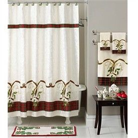 Lenox Holiday Nouveau Christmas Shower Curtain Towels And