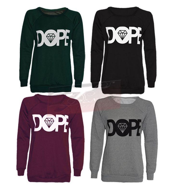 Womens Ladies Long Sleeve Dope Print Sweatshirt Womens Jumper Size 8-14