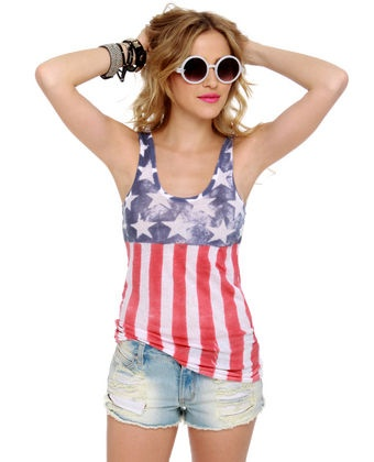 Alternative Apparel Gauze Flag Print Tank Top (4th of July)