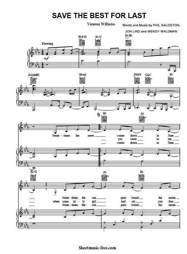 Save The Best For Last Sheet Music Vanessa Williams Download Save The Best For Last Piano Sheet Music Free PDF Download  #vanessawilliams #partituras #spartiti #pianist #90smusic #musicscores #singer