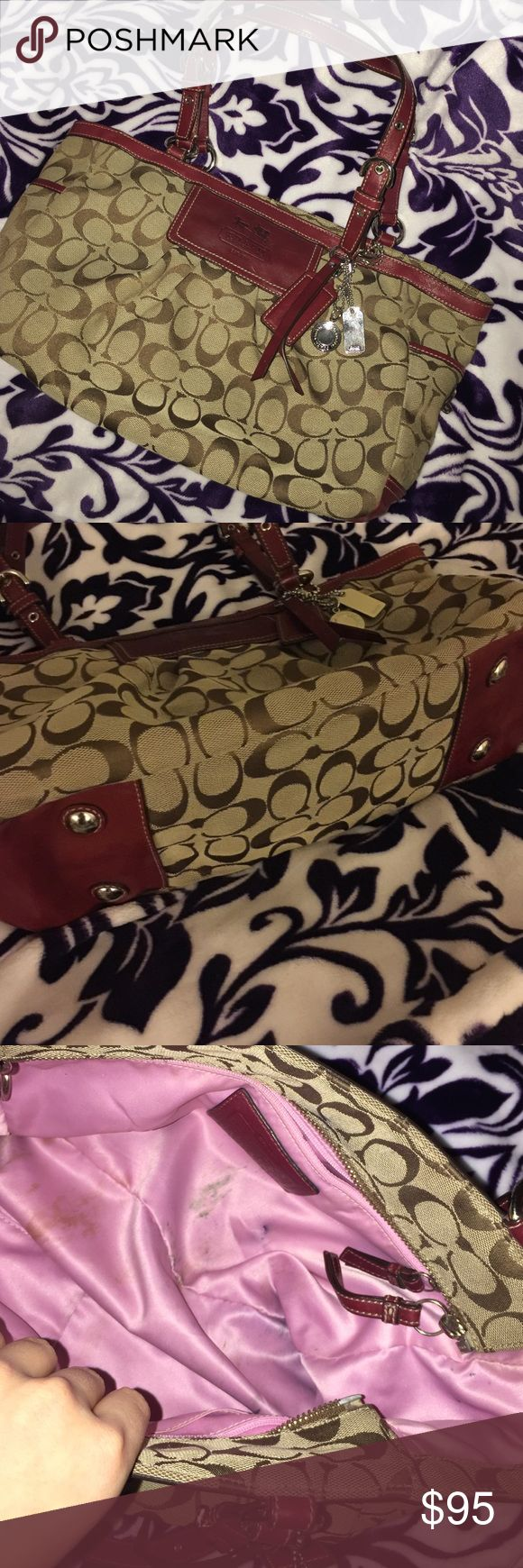 Coach Purse I'm selling a well-loved purse...meaning two pens melted while in a hot car and left their mark (no pun intended) on the interior of the bag. The outside is in great condition though! Make an offer! Coach Bags Shoulder Bags