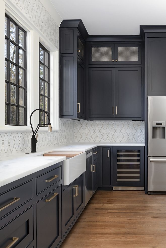 Kitchen With Dark Gray Cabinets Farmhouse Kitchen Sink And White Marble Counter Kitchen Design White Kitchen Design Dark Blue Kitchen Cabinets