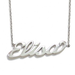 Collana in argento rodiato con il tuo nome in corsivo. € 36.90 -   Necklace made of 925 Silver Rhodium Pladed with your name by Flores Gioielli Personal Jewels