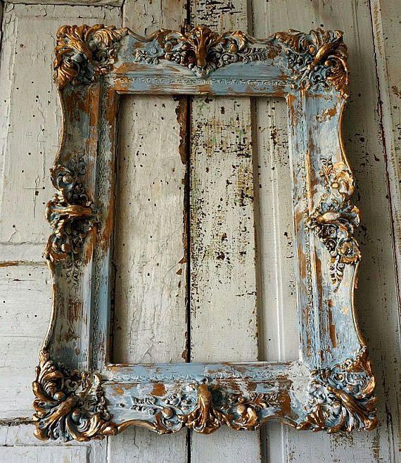 Shabby foto frame muur opknoping Frans blauw w / gouden