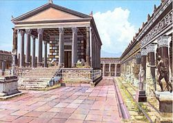 Pompeii, Naples, Italy-reconstructed illustration. Mt. Vesuvius. Founded 6/7th century BC. Destroyed after Roman occupation in 79AD by eruption of Mt. Vesuvius