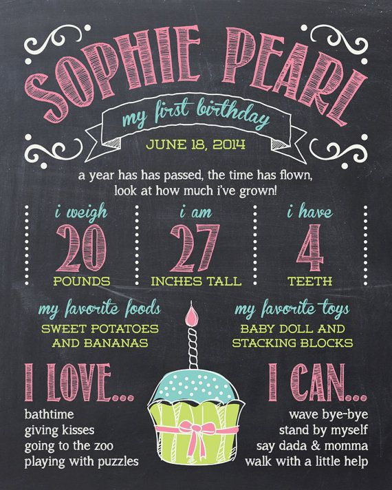 first birthday poster personalized custom chalkboard PRINTABLE digital file DIY via Etsy