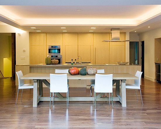 Dining Room:Simple Dining Room With Brown Wooden Table White Chair Dawnlight Kitchen Island Wooden Floor Chrome Chimney Modern Dining Room Ceiling Decorating Ideas