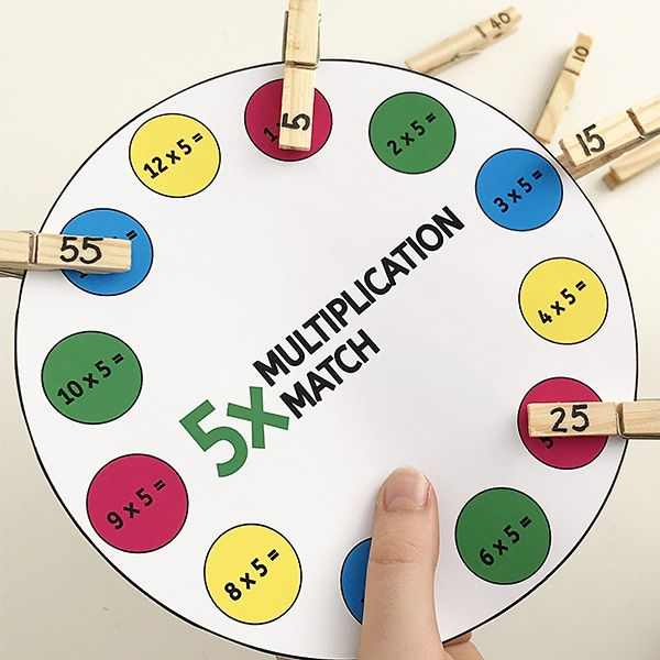 Printable Times Table Game: Multiplication Peg Match 1x ...