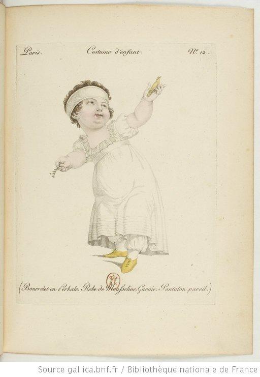 Costume d'enfant. Bourrelet en [percale. Robe et pantalon de mousseline garnie].