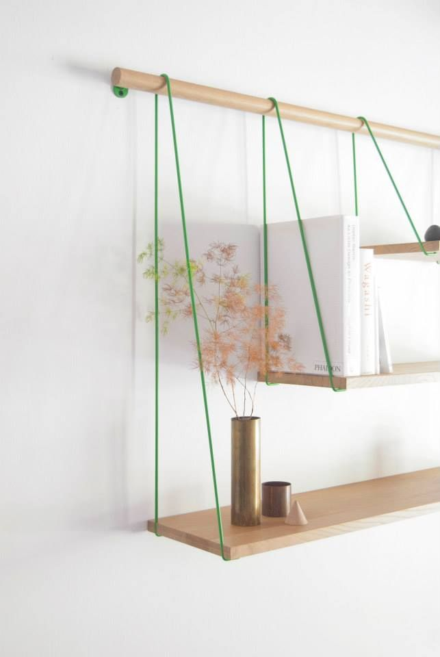 Wood and Rope Simple And Elegant Shelving Unit Inspired by Suspension Bridges