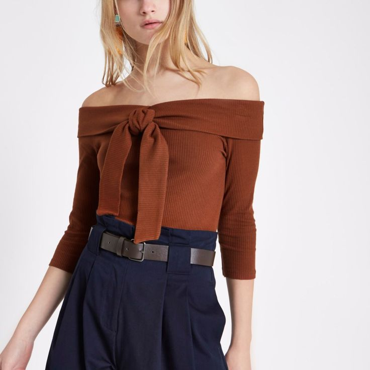 Brown rib tie front bardot top - Bardot / Cold Shoulder Tops - Tops - women