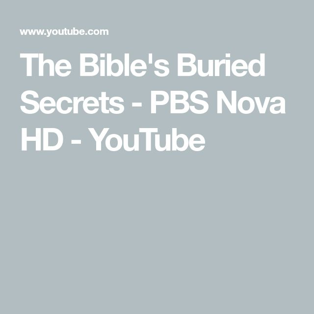 The Bible's Buried Secrets - PBS Nova HD - YouTube