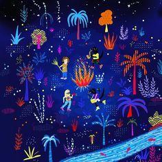 Ronda catonga para festejar el cumple de Dina! #ilustracion #illustration #art #draw #dibujo #dogs #blackdog #blacklab #ronda #noche #nochedeverano #colors #drawing #doodle #doodling #night #stars #music