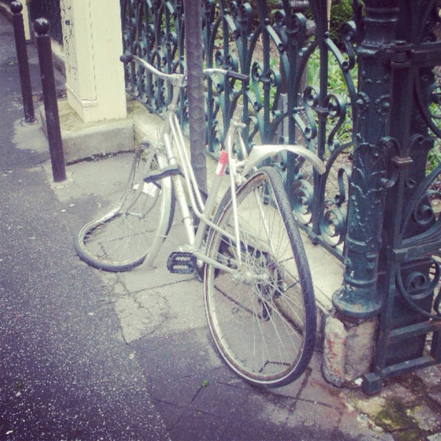 Melted bicycle abandoned in Paris