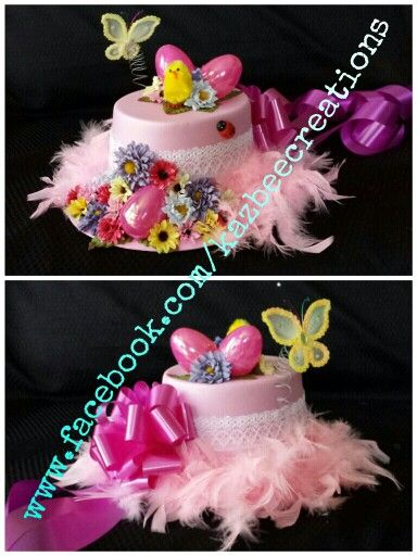 Decorated Easter Hats for Easter Bonnet Parade, available now through eBay or Facebook. www.facebook.com/kazbeecreations