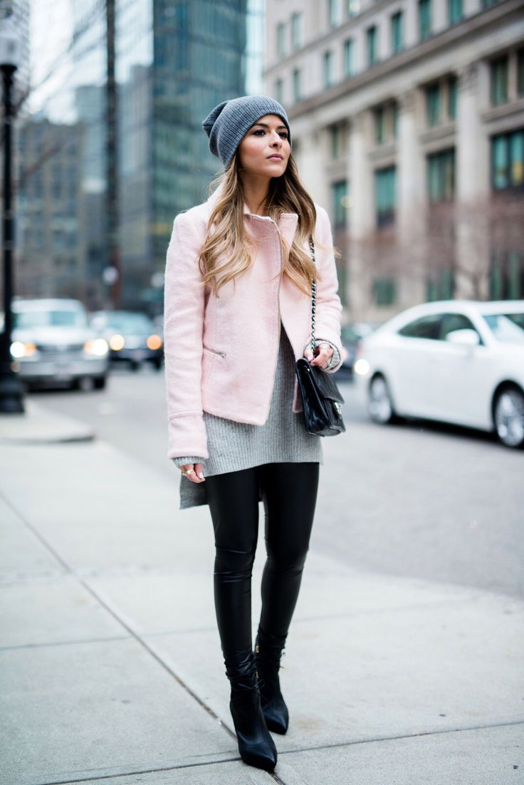 Great combo for fall and winter outfits - faux leather black leggings paired with a pink jacket. Asos Pink Jacket, Faux Leather Leggings, Reiss Boots, BP Grey Beanie, Chanel French Riviera Flap and Grey Sweater