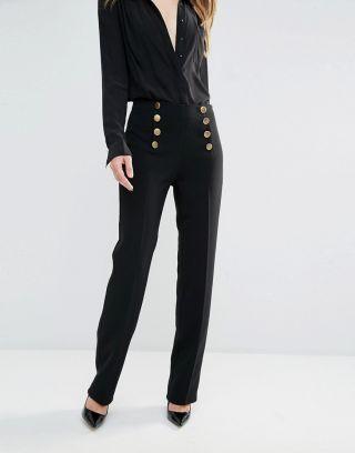 Pantaloni dama eleganti cu talie inalta negri