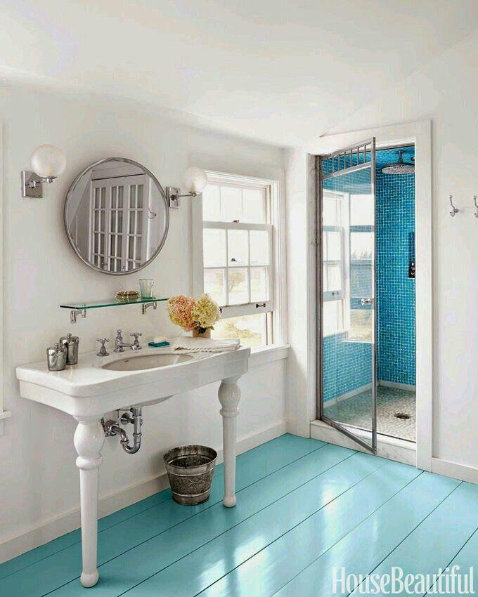 What Paint To Use In The Bathroom: Con El Piso Rustico Pintado.