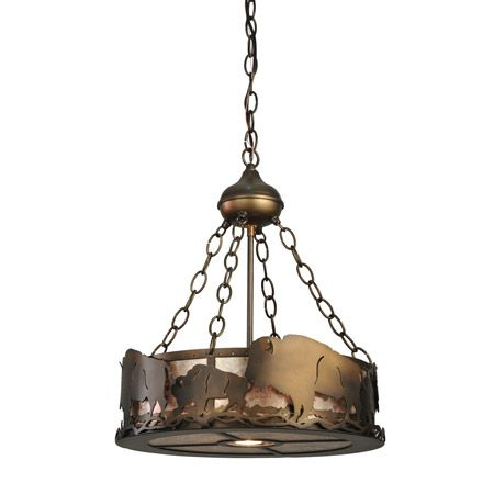 A Herd Of Magestic Buffalo Circle Around This Unique Inverted Rustic Pendant, Featuring A Central Down-Light With A 50 Watt Mr16 Halogen Flood Bulb. The Fixture Is Finished In Antique Copper, With Silver Mica Panels, And Is Handcrafted In The USA By Meyda Artisans.