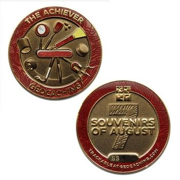 """7SofA Achiever Geocoin $13.00 USD  Do you have what it takes to be an Achiever?  During the 7 Souvenirs of August celebration, we want people to celebrate the many types of geocaches and geocachers. You may be a Nature Lover, a Socializer, an Explorer, a Collector, a Puzzler, or a Sightseer. No matter who you are, you can also be an achiever!  Size: 1.75""""(4.5cm) across x 1/4""""(5mm) thick."""