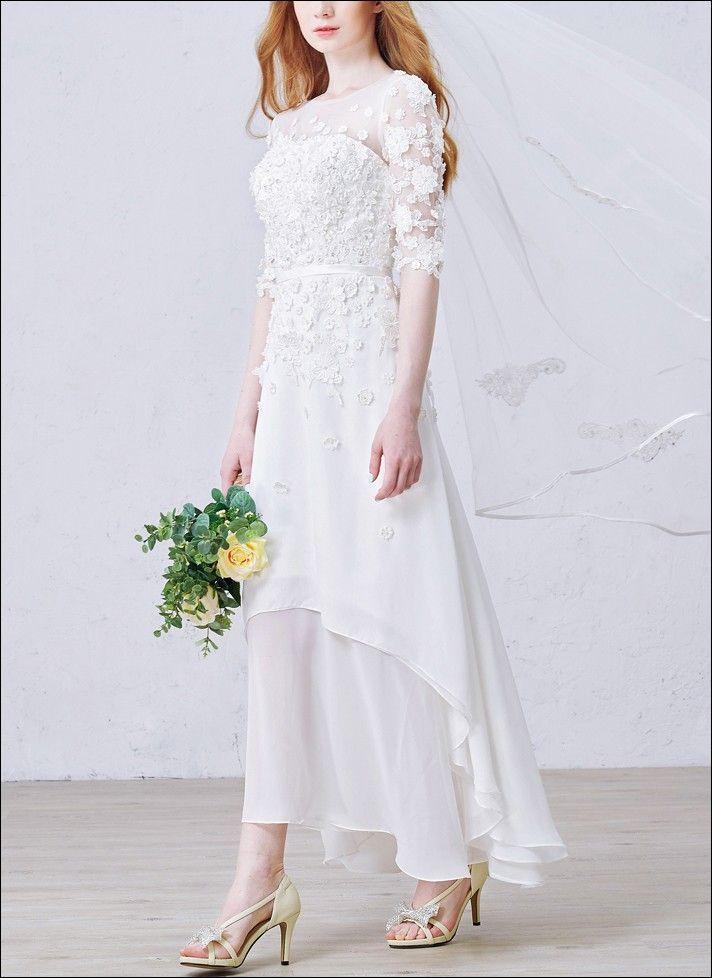 Leichtes Vokuhila Brautkleid mit Ärmeln Wadenlang