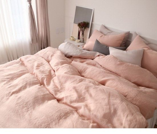 this beautiful solid blush coral pink linen reversible bedding set is made with natural linen