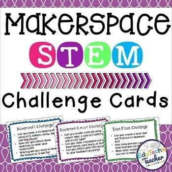 Makerspace STEM Challenge Cards {44 STEM Challenges + 4 Editable Cards} A Makerspace is a places where people and ideas come together to design, explore, build, and create! A Maker Space incorporates STEM and STEAM learning activities and design challenges to allow kids to learn through creating. If you're looking to challenge your students to be innovative thinkers, a Makerspace is for you!