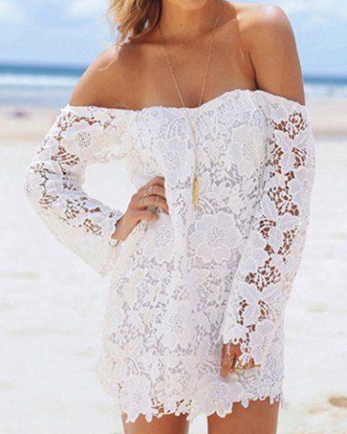 Sexy Slash Collar Long Sleeve Flower Pattern Lace Women's Dress