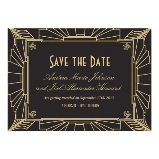 Art Deco Style Wedding Save the Date Personalized Invitation