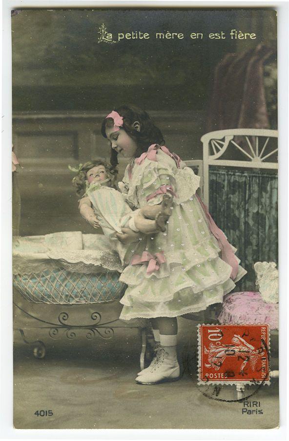 C 1912 милые маленькие дети ребенок девочка с куклой тонированные французский виртуал открытка | eBay