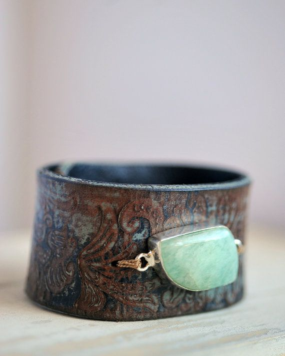 Belt Bracelet Leather Bracelet Gemstone Bracelet by HANKandANNIE